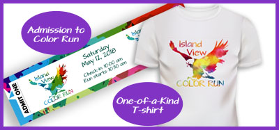 Admission to the Color Run, one-of-a-kind t-shirt
